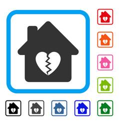 Divorce house heart framed icon vector