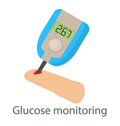 Glucose monitoring icon isometric style vector