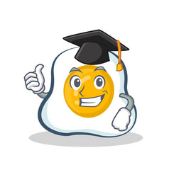 Graduation fried egg character cartoon vector