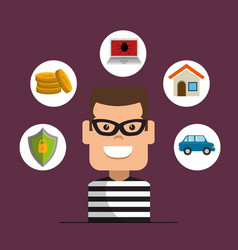 house thief security protection insurance vector image