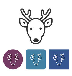 line icon of reindeer in different variants vector image