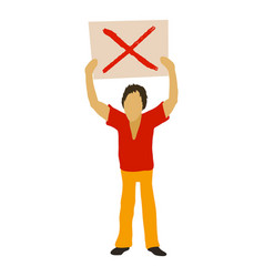 Man protest with sign icon cartoon style vector