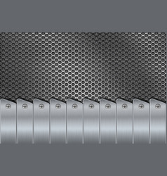 Metal background with rivets and perforation vector
