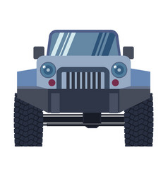 Offroad vehicle with mud tyres front view vector