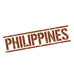 Philippines brown square stamp vector