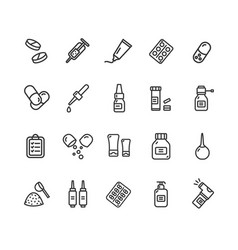 Pills related medical black thin line icon set vector