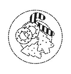 Plate with christmas cookies icon vector