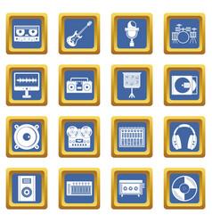 Recording studio items icons set blue vector