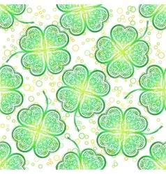 Seamless pattern green clover vector