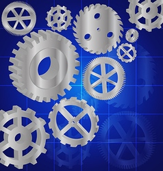 Silver gears 3d on the blue background vector