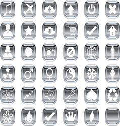 silver icons 2 vector image vector image