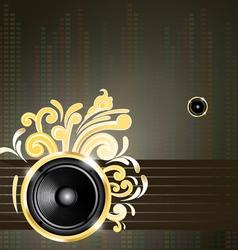 speaker and golden swirls vector image vector image