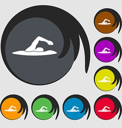 Swimmer icon symbols on eight colored buttons vector