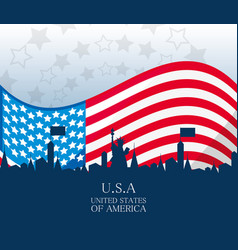 Usa country with american flag nation vector