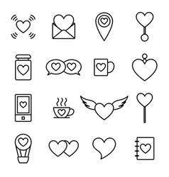 Valentine line icon set vector
