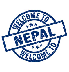 Welcome to nepal blue stamp vector