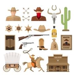 Wild West Decorative Elements Set vector image vector image