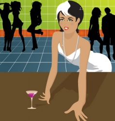 Woman in dance club vector