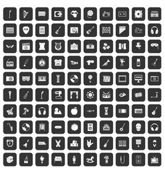 100 musical education icons set black vector