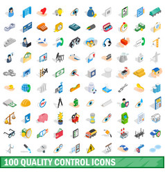 100 quality control icons set isometric 3d style vector