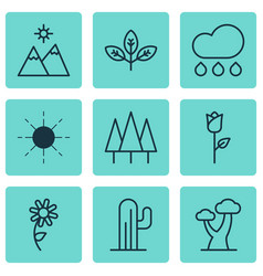 Set of 9 harmony icons includes forest sun oak vector