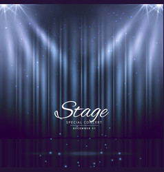 blue stage background with closed curtains vector image