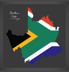 Northern cape south africa map with national flag vector