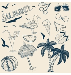 Sketch summer objects vector