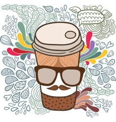 Cute cartoon doodle coffee cup vector