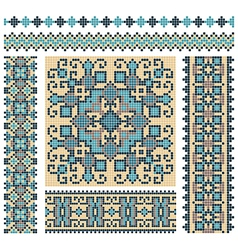 embroidered good like handmade cross-stitch vector image