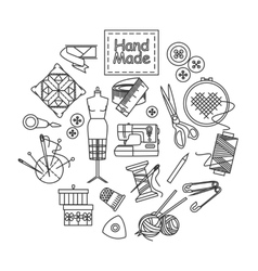 Handmade and sewing outline icons set vector