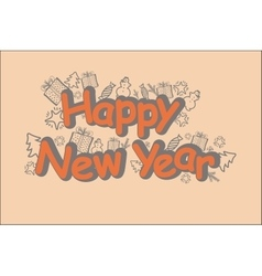 Happy new year card in brown tone vector