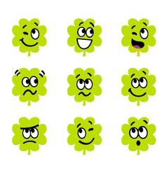 cartoon four leaf clovers vector image