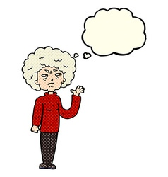 Cartoon annoyed old woman waving with thought vector
