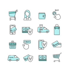 Shopping and ecommerce web store icons set vector