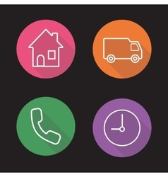 Delivery flat linear icons set vector image