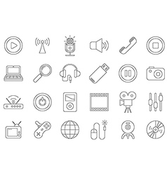 Black house electronic icons set vector