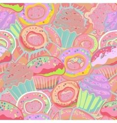 Pastry hand drawn seamless pattern doodle vector