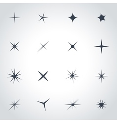 Black sparkles icon set vector