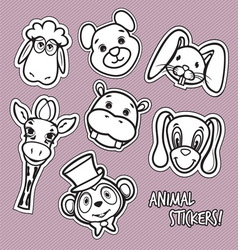 animal stickers1 vector image vector image