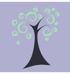Art tree with curly crown eps10 vector