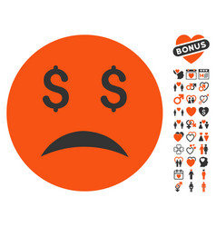 bankrupt smiley icon with love bonus vector image