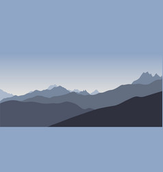 Blue silhoette of mountains vector