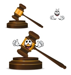 Cartoon isolated fun wooden gavel vector image vector image