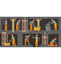 Coal extraction industry horizontal banners vector