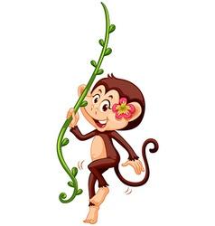 Cute monkey climbing the vine vector image vector image