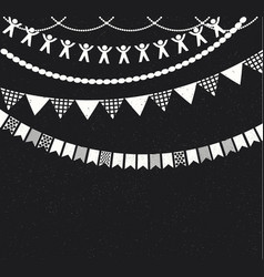 Decorative garlands over chalkboard background vector