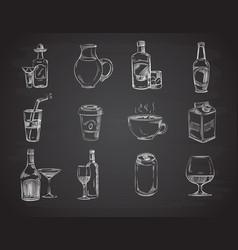Doodle drinks wine beer bottles hand drawn vector