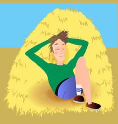 Farmer in agreen jumpsuit lies on haystack vector