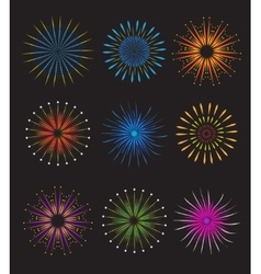 Fireworks icons set on black background vector image
